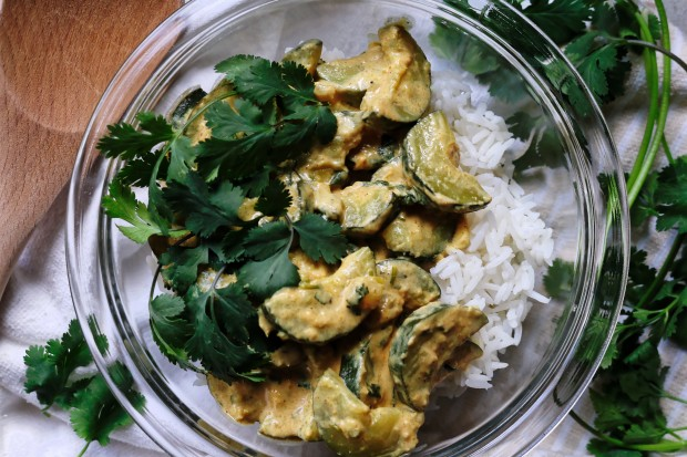 Zucchini curry with rice and cilantro (above image)
