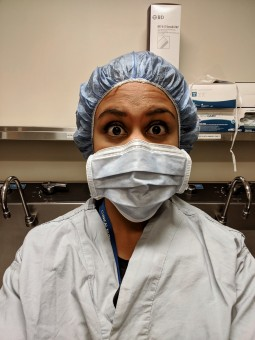 Operating room mask and scrub dietitian