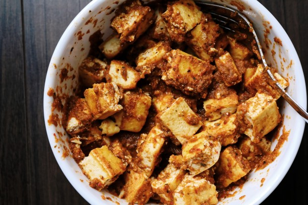 Marinate tofu mexican sofrita in white bowl